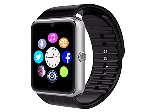 Smart Watch,AZFELD Bluetooth Watch Wristwatch Phone with SIM Card Slot / Touch Screen / Camera for iPhone 6s/6 Plus/5s/5c/4 and Android Samsung Galaxy 6/5/4 Note 4/3/2 Sony HTC LG Huawei (Silver)