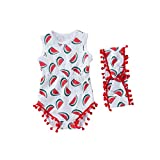 NUWFOR Toddler Baby Sleeveless Cartoon Print Shell Romper+Headbands Set Outfit(Red,6-12 Months)