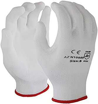 Polyurethane PU Coated Azusa Safety N10550 13 gauge Nylon Machine Knit Safety Gloves Small White Pack of 12 Pairs