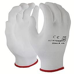 Azusa Safety N10550 13 gauge Nylon Machine Knit Safety Gloves, Polyurethane PU Coated, Medium, White (Pack of 12 Pairs)