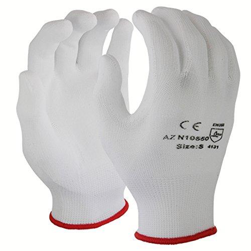 Azusa Safety N10550 13 gauge Nylon Machine Knit Safety Gloves, Polyurethane PU Coated, Medium, White (Pack of 12 Pairs) by Azusa Safety (Image #3)