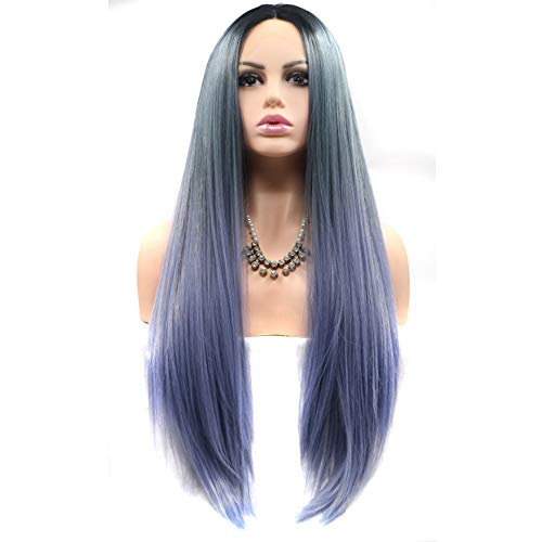 - Wenjing Front Lace Wig Long Super Fine Straight Natural Lace Synthetic Wig Smoky Ombre Purple for Drama Performer