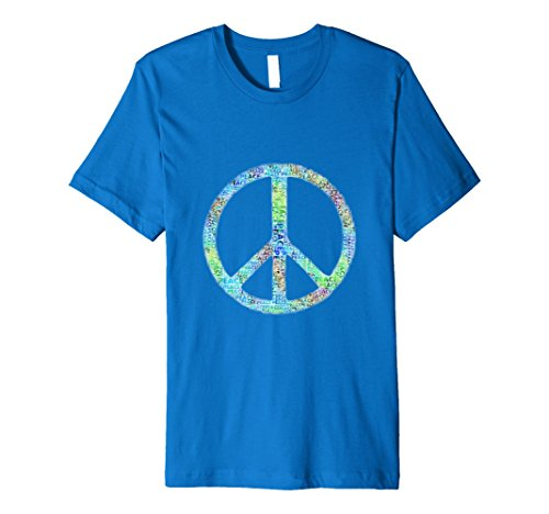 [Mens Retro Groovy Painted Peace Symbol Hippie Gift T-Shirt 3XL Royal Blue] (Step Back In Time Costumes)