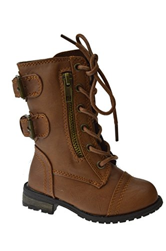 Forever Link Mango Girls/Boys Combat Buckle Zipper Lace Up Boots