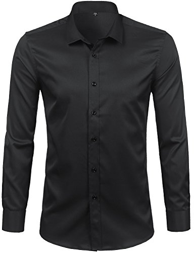 - ZEROYAA Men's Comfort Stretch Solid Slim Fit Long Sleeve Button Down Dress Shirt with Contrast Button Z68-BC-38