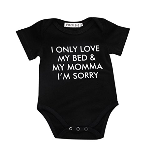 Newborn Baby GOT My Mind ON My Mommy Funny Bodysuits Rompers Outfits, Summer Short Sleeve (0-3 Months, Black)