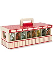 Melissa & Doug 3744 Take-Along Show-Horse Stable Play Set With Wooden Stable Box and 8 Toy Horses
