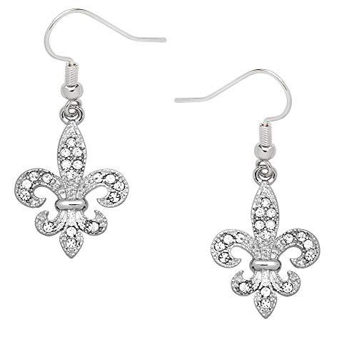 Liavy's Fleur De Lis Fashionable Earrings - Fish Hook - Sparkling Crystal - Unique Gift and Souvenir