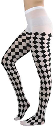 ToBeInStyle Women's Harlequin Designed Opaque Full Footed Pantyhose - BLACK/WHITE -