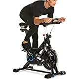 ANCHEER Indoor Cycling Bike, 49 lbs Flywheel Indoor Cycling Exercise Bike with Quiet Smooth Belt Drive System, Adjustable Seat & Handlebars & Base