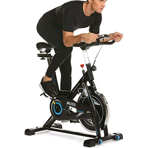 ANCHEER Indoor Cycling Bike, 49 lbs Flywheel Indoor Cycling Exercise Bike with Quiet Smooth Belt Drive System, Adjustable Seat & Handlebars & Base (Black)