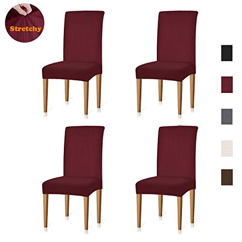 Cotton Chair Room Dining (Xflyee Stretch Dining Room Chair Covers Jacquard Removable Washable Kitchen Parson Chair Slipcovers Set of 4 (Wine, 4 Pack))