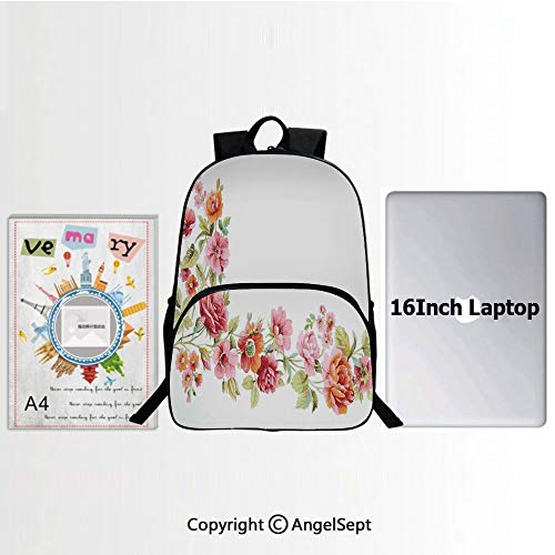 Unisex Classic Lightweight Water-resistant Backpack,Romantic Summer Theme Rose Blossoms Ornate Vintage Art 15.7