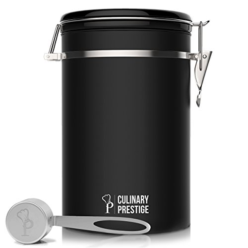 Prestige Storage Set (Black Stainless Steel Coffee Canister 22 oz - Built-in One Way Valve Blocks CO2 From Ruining Coffee Flavor - Built-in Freshness Calendar – Free eBook & Stainless Steel SCOOP by Culinary Prestige)