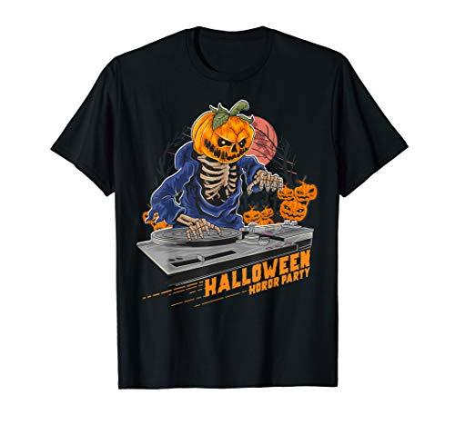 Homemade Dj Halloween Costume (Jack o Lantern DJ Pumpkin Halloween Horror Party Costume Tee)