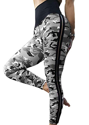 Women's High Waisted Bottom Scrunch Leggings Ruched Camouflage Yoga Pants Push up Butt Workout Capris (Stripe-Grey, XL)