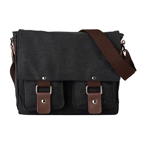 VRIKOO Retro Canvas Messenger Satchel Bag Casual School College Shoulder Bags for Men Women (Coffee) Negro