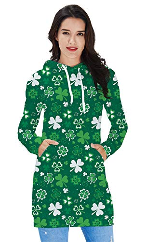 Green Hoody Dress for Junior Teen Girls 3D All Printed White Trefoil Funny Cute Leave Women Casual Party Above Knee Length Short Shirt Skirt Outfits Saint Patrick's Day Dress-up Sweatshirt Clothing -