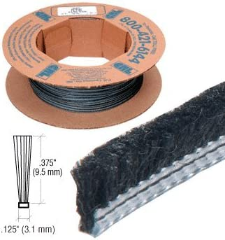 """100/' Roll .375/"""" Adjustable Astragal Replacement Pile Weatherstrip"""