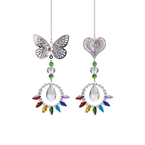- Crystal Suncatchers Chakra Metal Butterfly Hearts Hanging Pendant Prism Windows Decorations Pack of 2