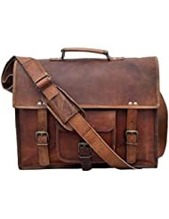 Universal Vintage Handmade Leather Full Flap Laptop Messenger Sling Satchel Bag 15X11X4 Inches Brown …