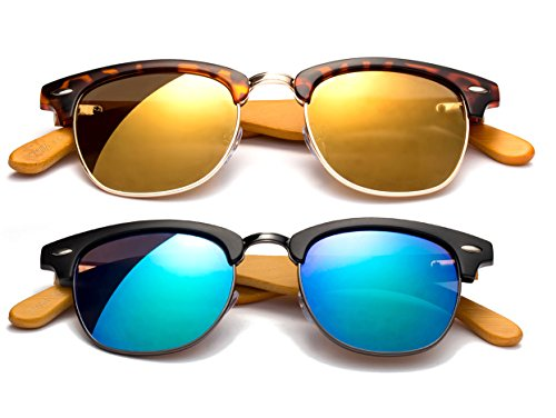 Newbee Fashion - Real Bamboo Clubmaster Style Design Vintage Cool Unique Comfortable Fashion Stylish Flash/Mirrored - Sunglasses Clubmaster Mirrored