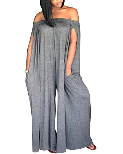 BONESUN Women's Boat Neck Loose Fit Full Length Wide Legs Pants Sexy Jumpsuits Rompers Gray L