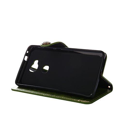 ARTLU® Für Huawei Honor 5X Hülle , Retro Rosen Vintage Blume Muster Premium PU Leder Schutzhülle Bookstyle Tasche Schale TPU Case mit Trageschlaufe Standfunktion für Huawei Honor 5X 5.5-Khaki Green