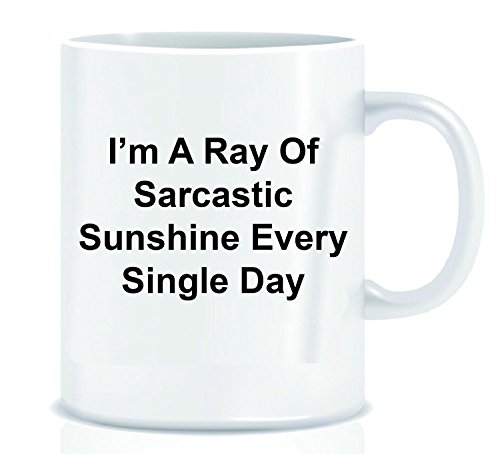 Funny Coffee Mug with Quote I'm A Ray Of Sarcastic Sunshine Every Single Day - Mug Gift in Decorative Blue Ribbon Box - 11 oz - Gifts for Family, Friends, (Rays Crystal Mug)