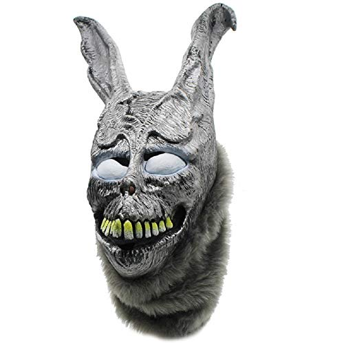 NECHARI Halloween Rabbit MASK Latex Overhead with Fur Halloween Cosplay Replica Latex Helmet -