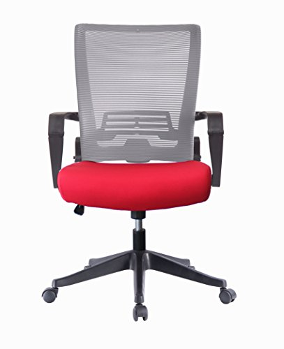- Ergonomic Mesh Back Office Task Chair Molded Foam W/Adjustable Lumbar Support Headrest, Folded Mesh Back, Designer Chair ANSI/BIFMA TB117-2013 (Custom Seat Fabric - Red with Grey Mesh)