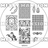MESSY MANSION MM45 Nail Art Stamping Plate - Great Gatsby Art Deco theme