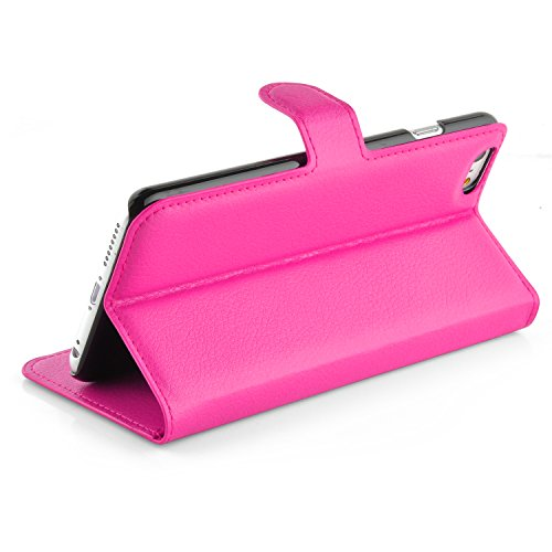 Cadorabo - Book Style Hülle für Apple iPhone 6 PLUS - Case Cover Schutzhülle Etui Tasche mit Standfunktion und Kartenfach in CHERRY-PINK