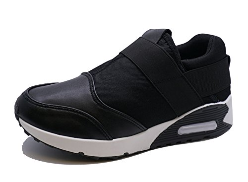 Ladies Black Slip-On Running Trainers Sports Pumps Plimsolls Casual Shoes Sizes 3-8 lXEg8zcJ