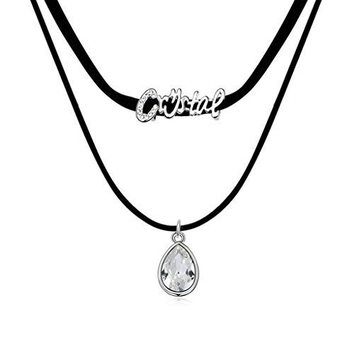 Daesar Gold Plated Women's Teardrop Necklace Rhinestone CZ Pendant Necklace for Women (Display Whistle Pack)