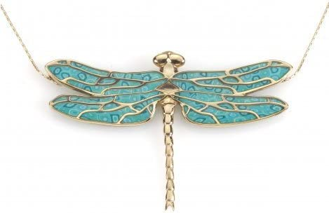 Amazon Com Gold Plated Silver Dragonfly Necklace Pendant Handmade