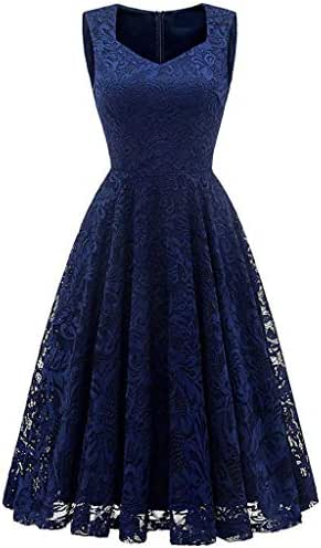 Women's Lace Sleeveless Party Dress Cocktail Prom Ballgown Fancy Dress Summer Dresses for Party Wedding