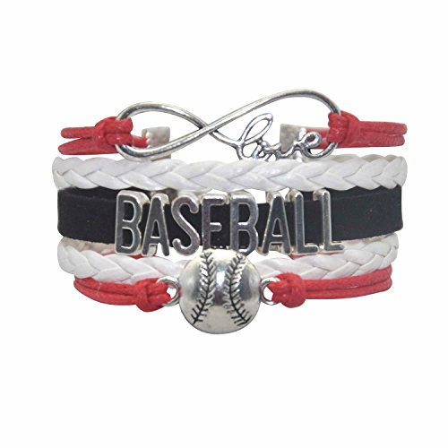 Youth Baseball Bracelet - Baseball Jewelry Womens Mens Baseball Charm Bracelet For Women,Men,Girls,Boys Including Infinity Love Charm, Letters, Baseball bracelets Charm (Red White and -
