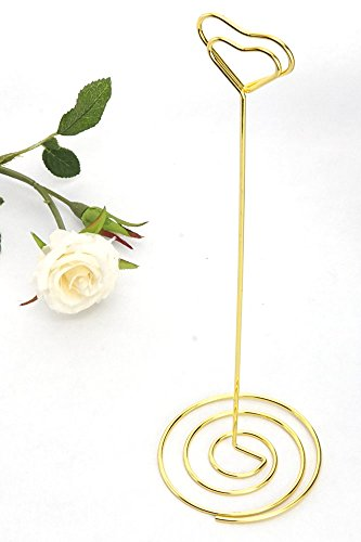 NX Garden 20 Pack 8.75 Inch Gold Tall Place Card Holders Heart Shape Table Number Holder Stands Picture Photo Note Memo Clips for Wedding by NX Garden