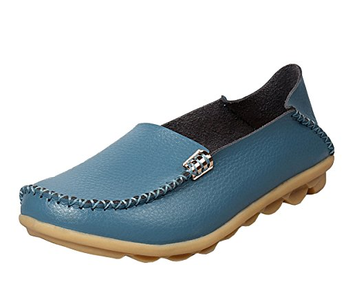 Loafer Flat Light Shoes Loafers Slippers Women Driving Shoes Blue Leather Casual Walking Slip On r6wFArnqEx