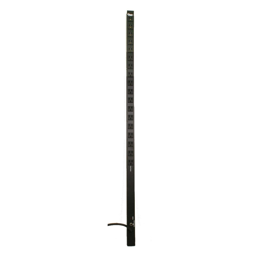 Quest Manufacturing 4' PDU, 18 Front 120V/15A Outlets with 15' Cord, Aluminium, Black (VPS-1804)