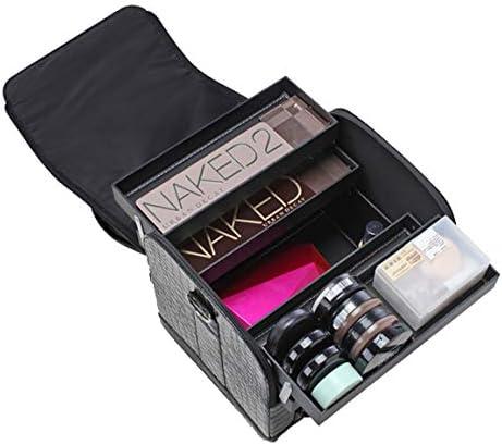 Doubleblack Maletin para Maquillaje Caja Maquillaje Organizador Estuches de Maquillaje Profesional Organizador para Manicura Grande Cosmeticos Estuch Negro: Amazon.es: Equipaje
