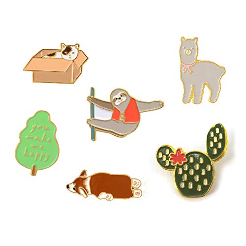 - CIOOU Cute Cartoon Brooch Pins Enamel Brooches Lapel Pins Badge for Women Girls Children for Clothing Bag Decor (Monkey Dog Cat Alpaca Set of 6)