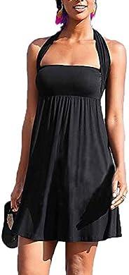Vepodrau Women Swimwear Sleeveless Backless Changeable Pleated Tube Swing Dress Black L