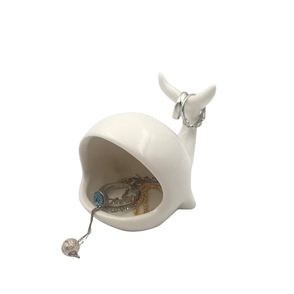 OYLZ Adorable Ceramic Puppy Dog Ring Holder Jewelry Trinket Holder Home Decoration