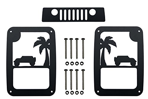 VroomTec Jeep Wrangler Aluminum Tail Light Guards - Accessories Include Third Brake Light Cover and All Hardware for JK and JKU (2007-2018) - Precision Made Covers - Never Rust (Jeep on Beach)