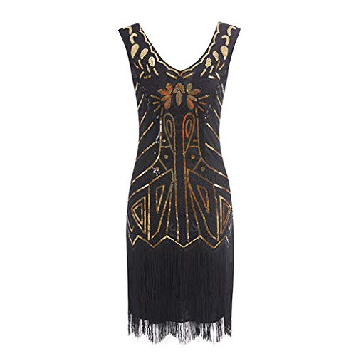 POHOK Women Dress Vintage 1920s Women Flapper Dress Costume Dress Fringed Sequin Tassel Dress(L,Gold ()