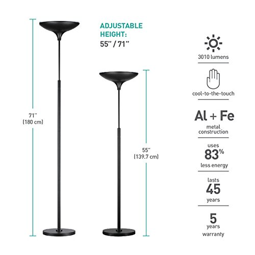Globe Electric 12784 LED Floor Lamp Torchiere, Energy Star Certified, Dimmable Super Bright, 43W, 3000 Lumens, 1 x 43W Integrated LED, 12.99'' x 12.99'' x 70.9'', Black Satin Finish by Globe Electric (Image #2)