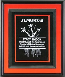 Color Trim Framed Plaque, Orange, w/6210 & Dbl. Plate by Gino's Awards Inc