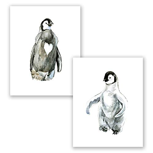 AtoZStudio A68 Penguin Nursery Decor Wall Art Prints - Set of 2 Pictures - Cute Gender Neutral Baby Home Posters - Watercolor Painting Artwork // Penguin Theme // Black White (8x10)